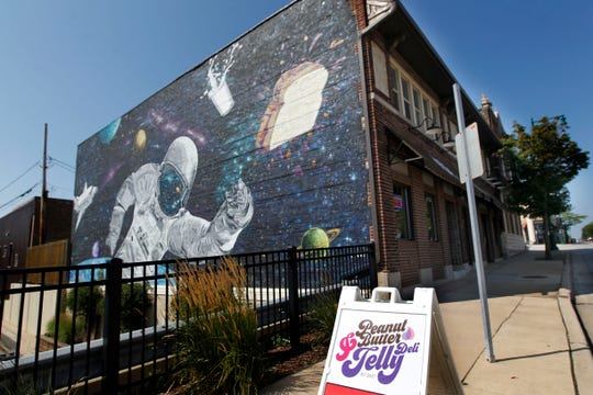 A new meaning for Milky Way, maybe, in the mural on the side of the Peanut Butter & Jelly Deli in West Allis.