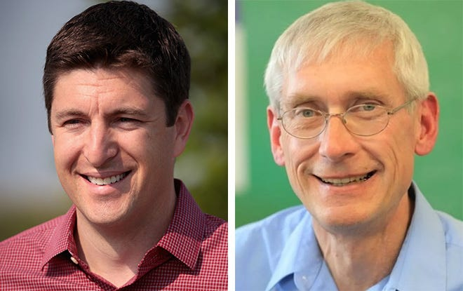 Bryan Steil (left) and Tony Evers