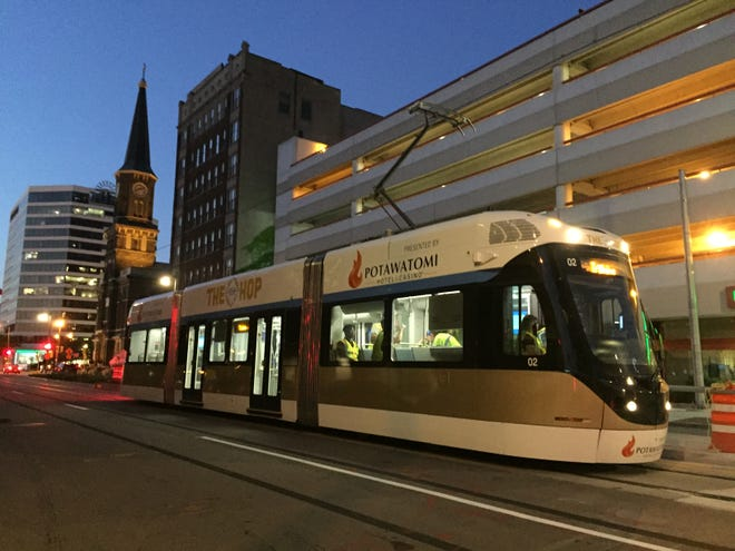 The Milwaukee streetcar, The Hop, travels down Broadway on a recent training run. The streetcar is expected to open to the public Nov. 2.