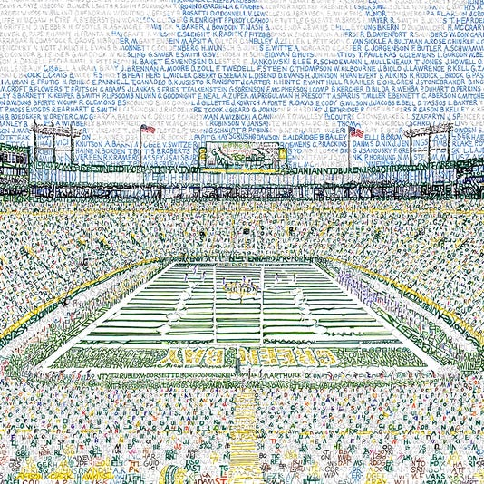 This Portrait Of Lambeau Field Composed Entirely Names Packers Players Was Created By Philadelphia Artist Daniel Duffy