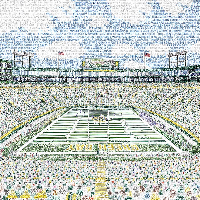 This portrait of Lambeau Field, composed entirely of names of Packers players, was created by Philadelphia artist Daniel Duffy.