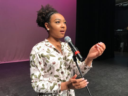 Miss Louisiana 2018 Holli' Conway practices a song on Aug. 21, 2018. She won the Miss America talent preliminary last year and is set to make her Broadway debut in fall 2019.