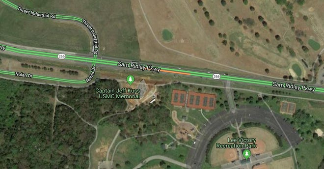 The orange line indicates where traffic is  backed up on Sam Ridley Parkway in Smyrna after a truck left the roadway Thursday morning.