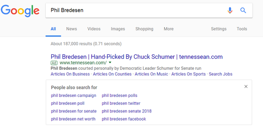 Another Google Ad targetting Phil Bredesen