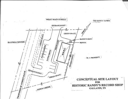 This map shows what the proposed plan for Historic Randy's Record Shop could look like in Gallatin.