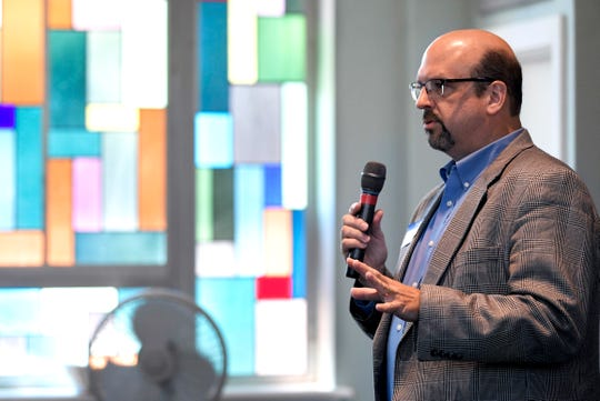 Chris O'Rear, licensed clinical pastoral therapist, who runs the counseling center Belle Meade UMC, spoke during a middle Tennessee United Methodist Church pastor meeting at Belle Meade UMC on Thursday, Aug. 23, 2018.