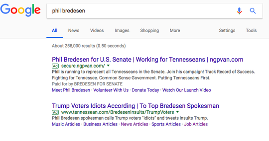 One of the recent anonymous ads targeting Democrat Phil Bredesen