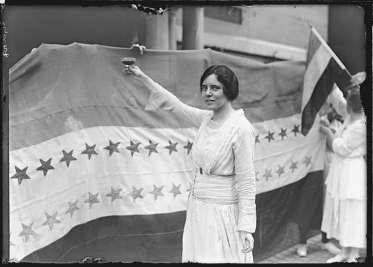 Alice Paul makes a toast to Tennessee's ratification of the 19th Amendment to the U.S. Constitution, giving women the right to vote