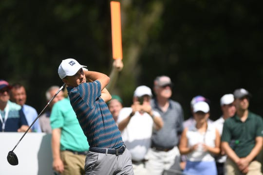 The First Round of the PGA Northern Trust at The Ridgewood Country Club on Thursday, August 23, 2018. Jordan Spieth watches his shot from the 8th tee.
