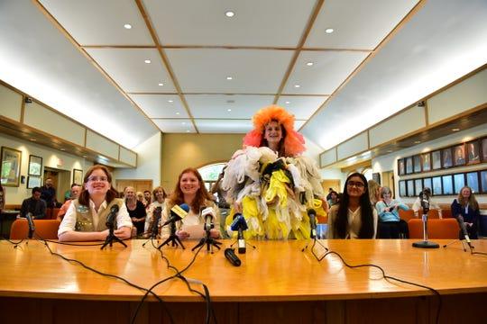 Girl Scouts Rose Silletto, Eliza Silletto, Kieli Nicholls and Amita Anand speak in front of The Assembly Environment and Solid Waste Committee and the Senate Environment and Energy Committee meeting on Thursday, August 23, 2018 in Toms River NJ., to hear testimony from invited guests and the public on the issues of single-use plastics and plastic waste.