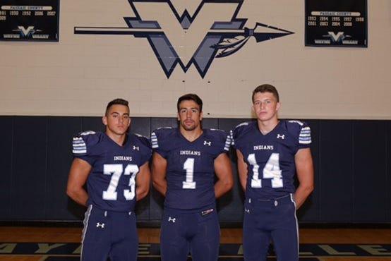 Wayne Valley football captains (from left) Joe Esposito, Nick Trani and Danny Murphy.