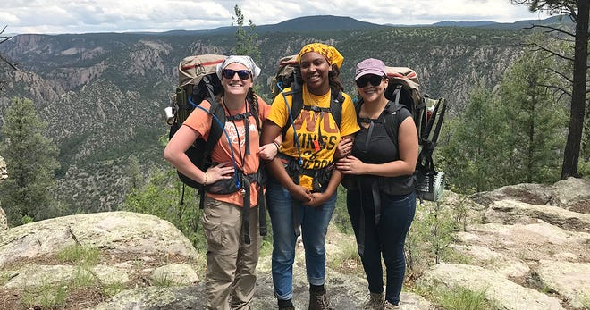 Western New Mexico University students (pictured left to right) Faith Diamanti, Raegan Carpenter and Miriam Flores, who participated in the outdoor program's inaugural wilderness orientation.