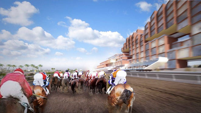 This undated artist rendering provided by Full House Resorts/CannonDesign shows a movable grandstand alongside a horse racing track from a proposed racetrack and casino in Clovis, N.M. Daniel Lee, president and CEO of the Nevada-based Full House Resorts, is vying for New Mexico's sixth racetrack/casino license and hopes his $200 million resort and racetrack with the shifting grandstand will set him apart. (Full House Resorts/CannonDesign via AP)