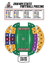 Ticket pricing and seating are shown for the 2018 New Mexico State University football season, including for season tickets, single-game tickets, NMSU vs. the University of New Mexico, and faculty and staff. Single-game admission for games other than the UNM contest ranges from $10 to $30.