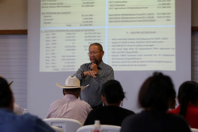 Ferdinand Notah, program projects specialist for the Navajo Nation Department of Agriculture, talks about crop insurance purchased by the tribe during a presentation Wednesday at the Nenahnezad Chapter house.