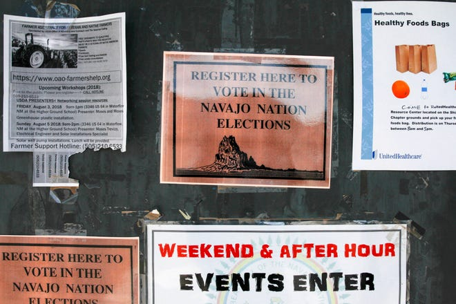 Voter registration signs are posted Thursday at the Shiprock Chapter house. The Navajo Nation primary election is set for Tuesday.