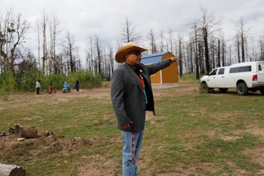 Navajo Nation Council Delegate Steven Begay talks about rebuilding homes after the 2014 Asaayii Lake Fire Tuesday in Ch'ooshgai Mountain's Naschitti Chapter area.