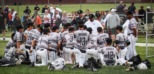 Following Plymouth's loss in the 2018 baseball regionals, head coach Jason Crain talks to players. It turned out to be the final game of his Wildcats career as he is moving on to Alma College.