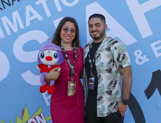 Dani Bowman, left, and Chris Castillo at the opening of the Palm Springs International Animation Festival, August 22, 2018.