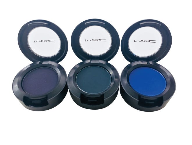 MAC eyeshadow in Contrast, Plumage, Atlantic Blue $17 each, Dillard's.
