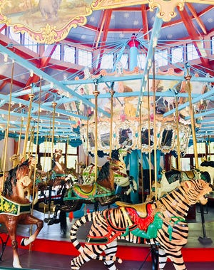 Built in 1900, the Pullen Park carousel offers a ride in fantasyland with 52 hand-carved basswood animals, 18 gilded mirrors, two chariots and a 1924 organ.