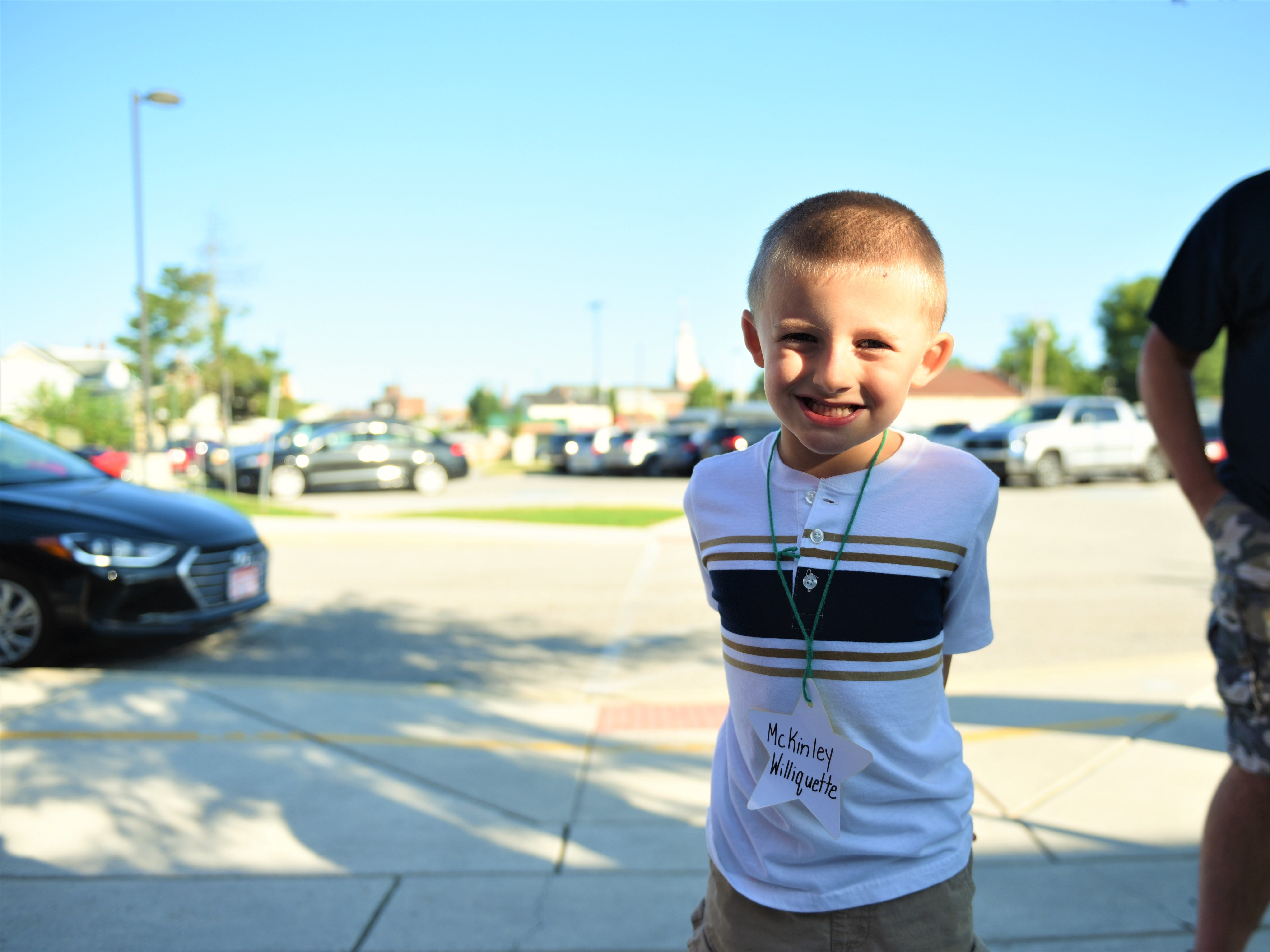McKinley Williquette is all ready for his first day of kindergarten at Hanover Street Elementary on Aug. 23.