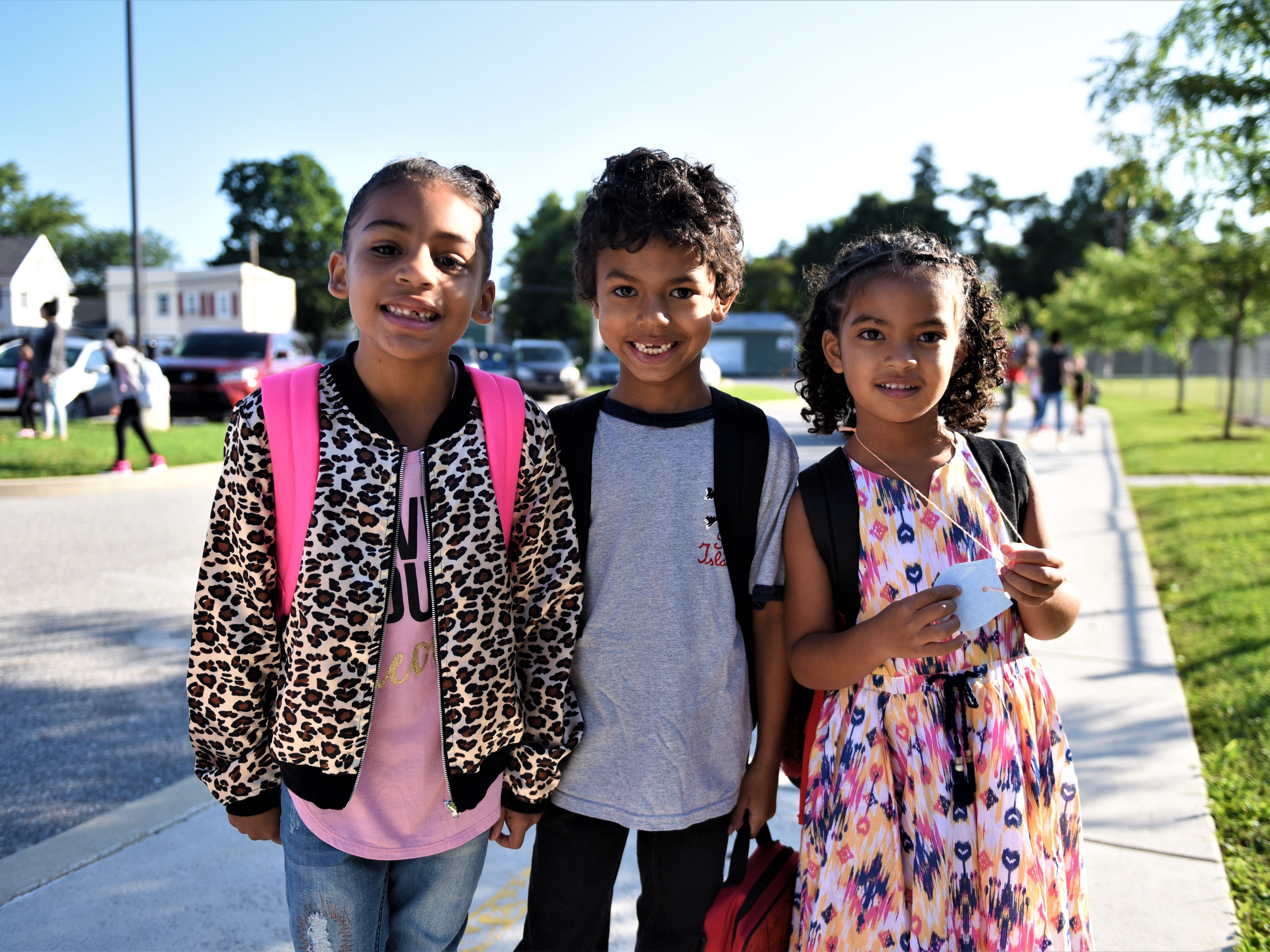 From left to right, Diamond Thomas, going into second  grade, and Mason and Jazmyn Merrell going into second grade and kindergarten at Hanover Street Elementary on Aug. 23.