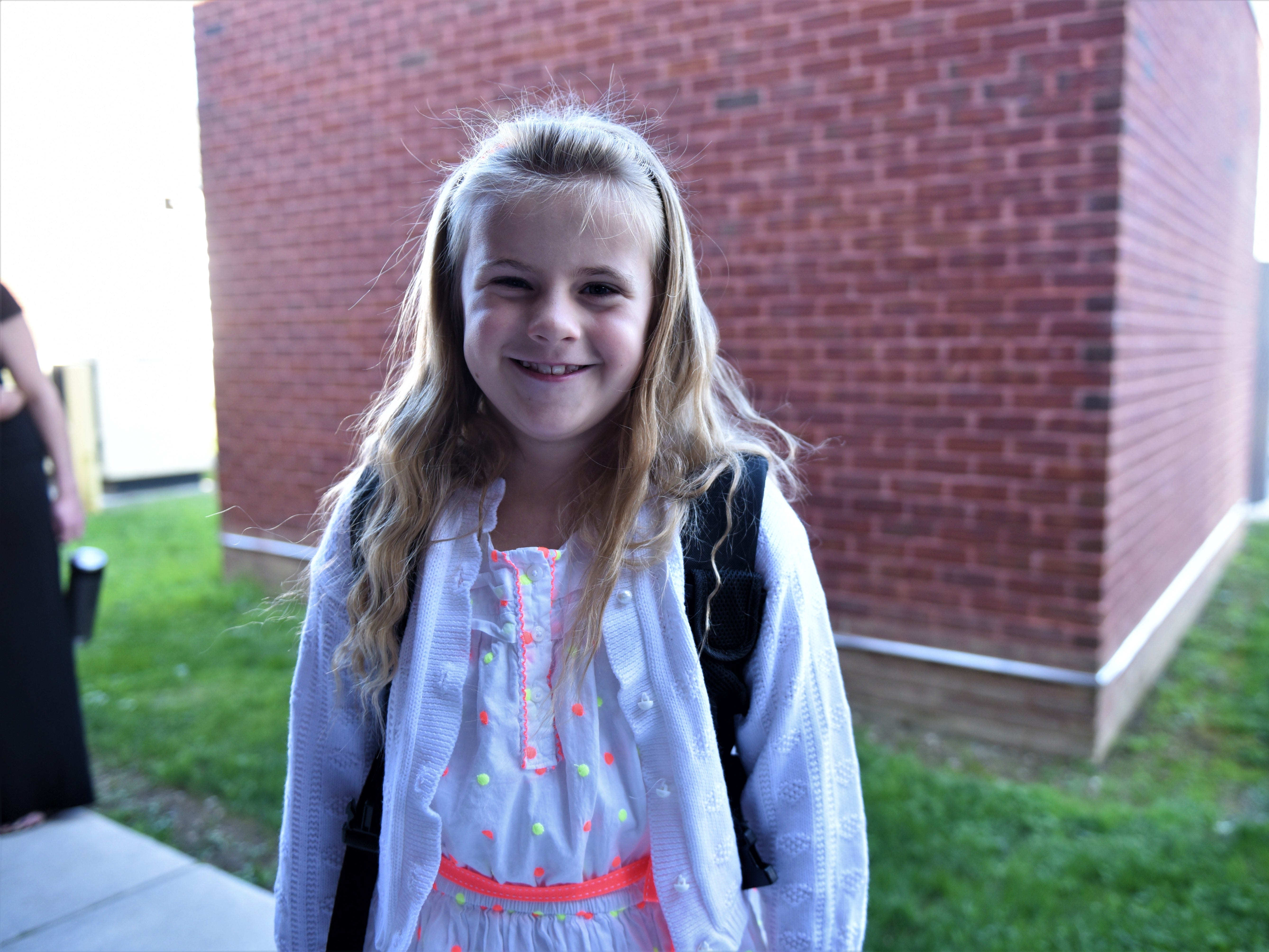 Lillian Lanier is pumped for her first day of second grade at Hanover Street Elementary on Aug. 23.