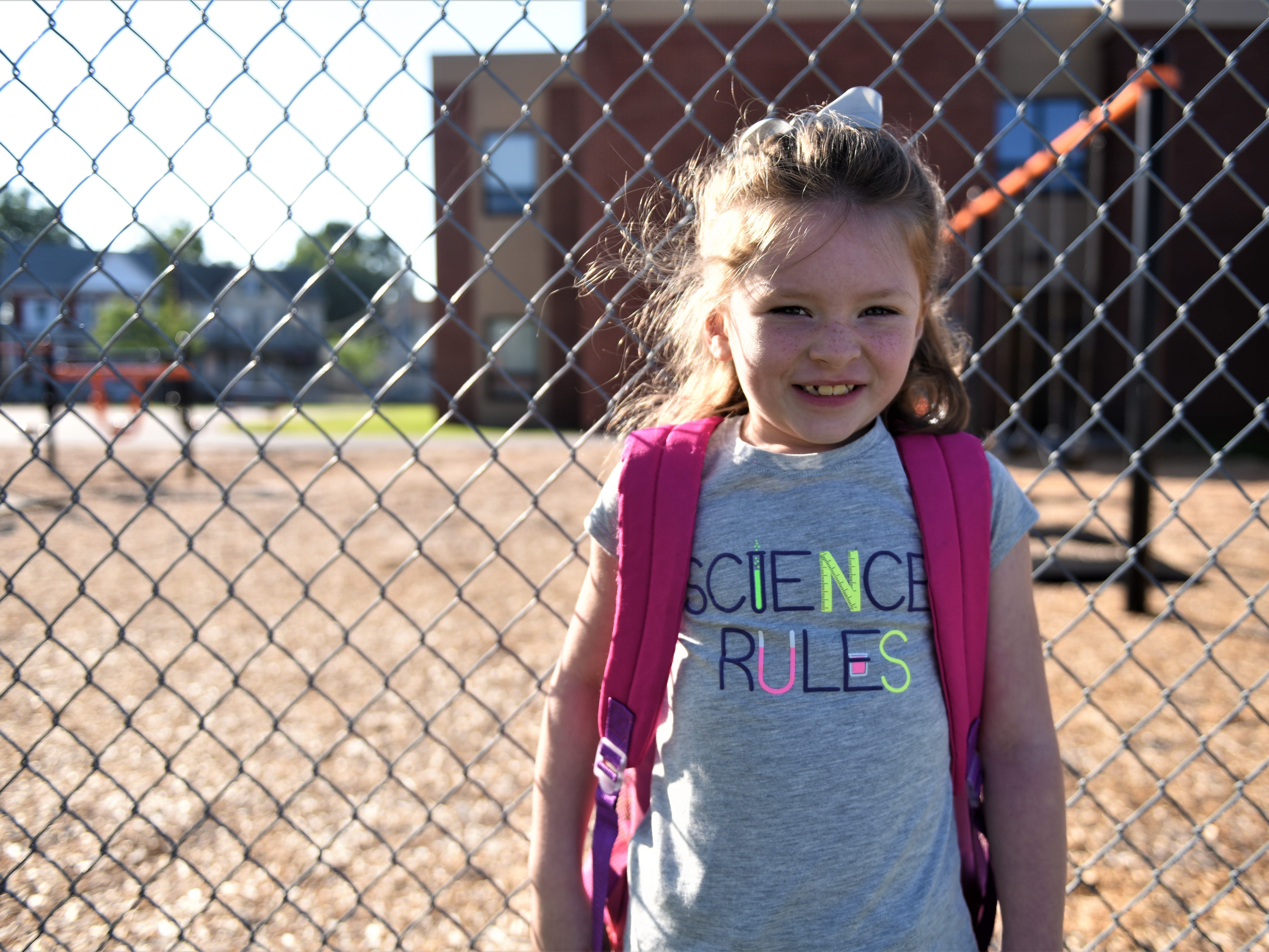 Avery Shirley is excited for science and her first day of first grade at Hanover Street Elementary on Aug. 23.