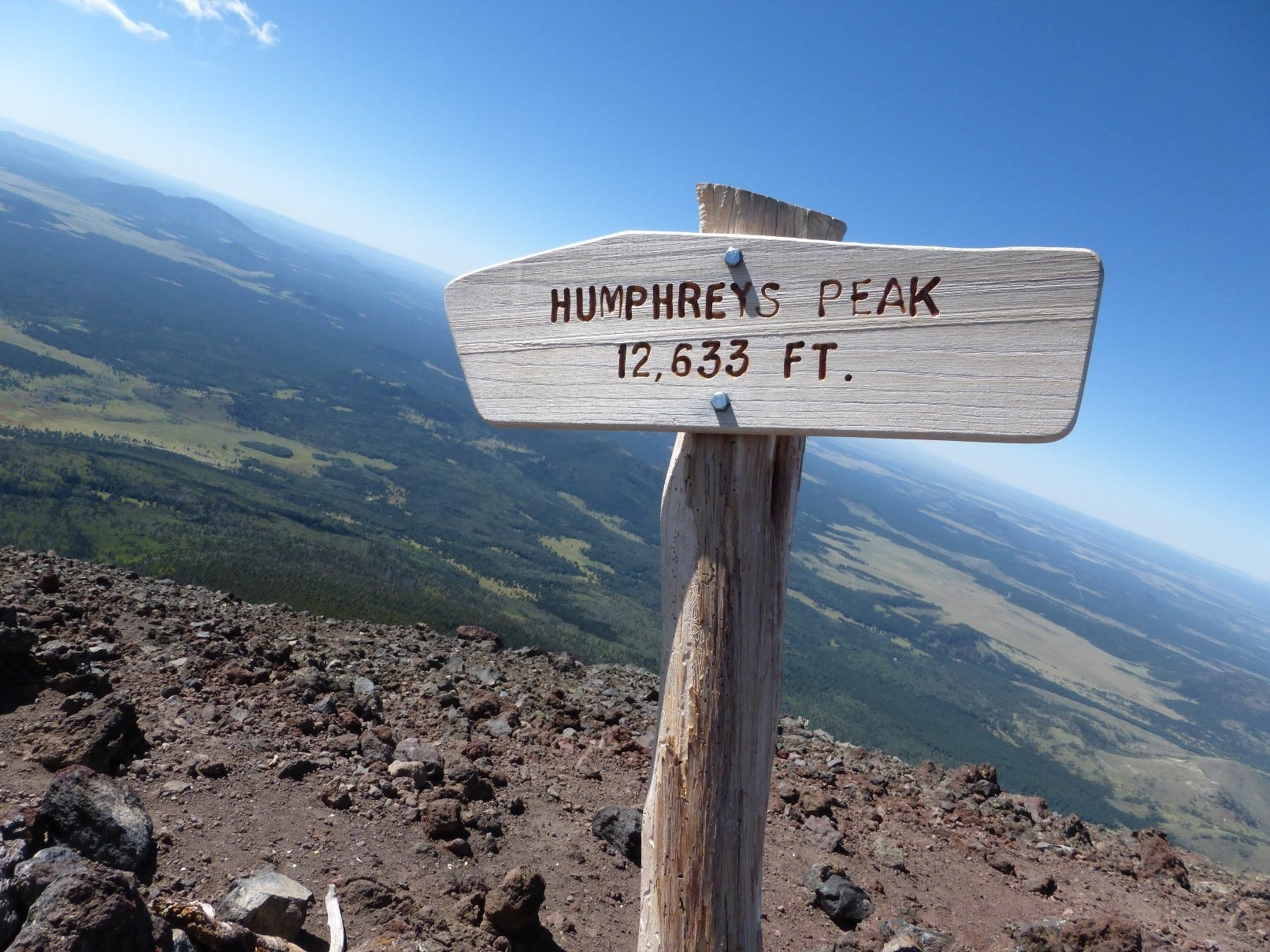 Views from the summit of Humphreys Peak north of Flagstaff extend to the Painted Desert and Grand Canyon.