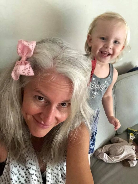 Maren Showkeir with her new hairdo, courtesy of granddaughters Audie and Iris.