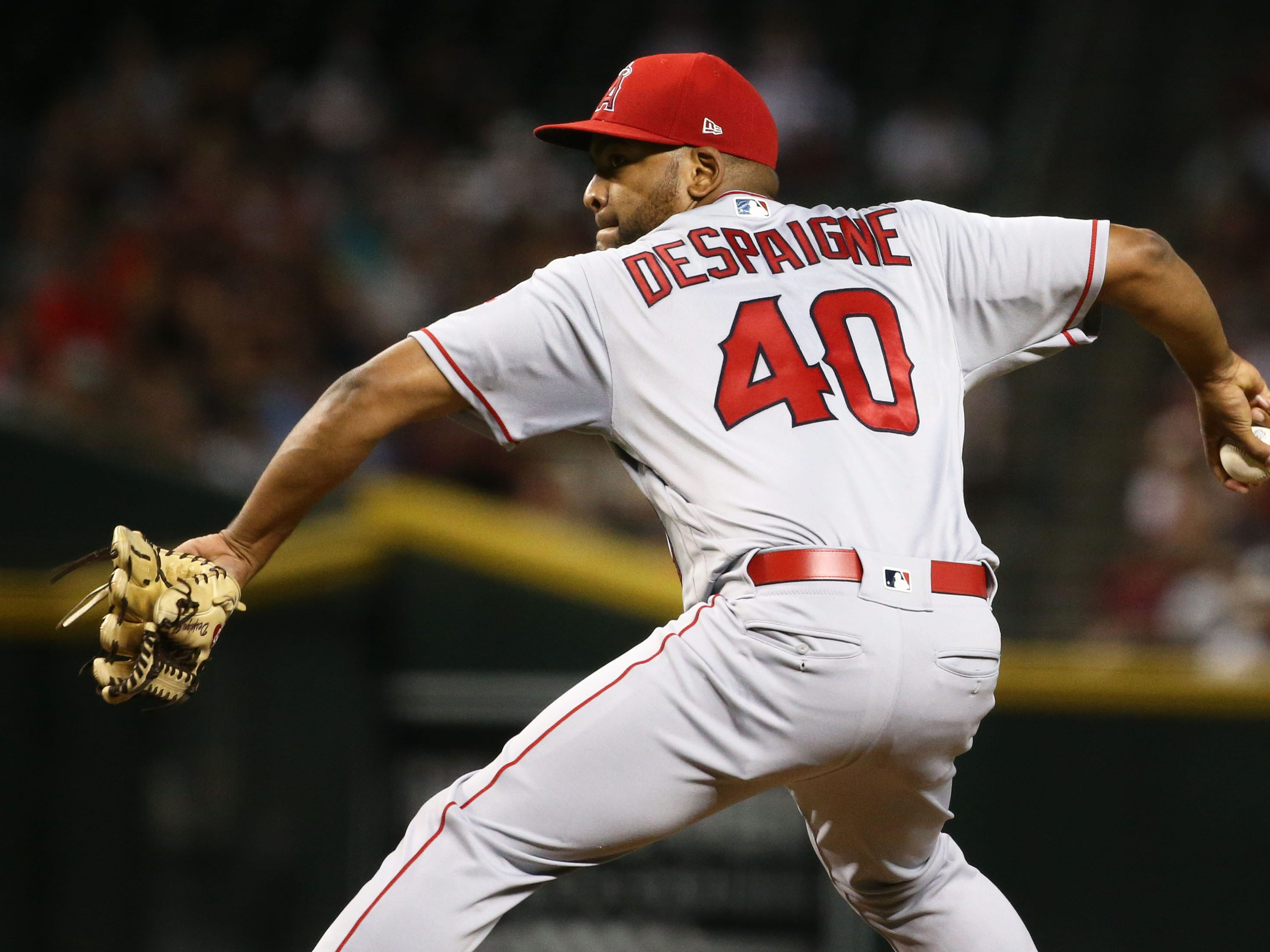 Los Angeles Angels pitcher Odrisamer Despaigne throws to the Arizona Diamondbacks in the first inning on Aug. 22, 2018, at Chase Field in Phoenix, Ariz.