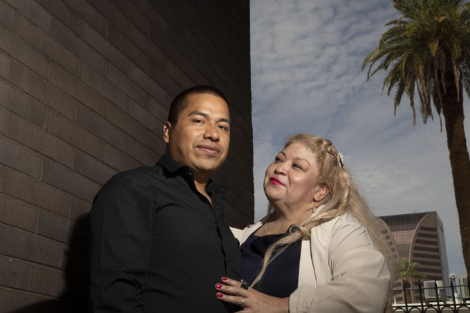 Javier Sanchez Gonzalez is seen with his wife Flor Maria Sanchez Gonzalez in Phoenix.  Javier could benefit from a June Supreme Court decision that found that notices to appear in immigration court that lack a specific time, date or place are invalid.