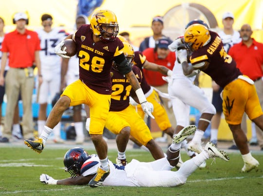 Arizona State defensive back Demonte King intercepts a pass against Arizona pass on Nov. 25, 2017 in the 91st Territorial Cup in Tempe, Arizona.