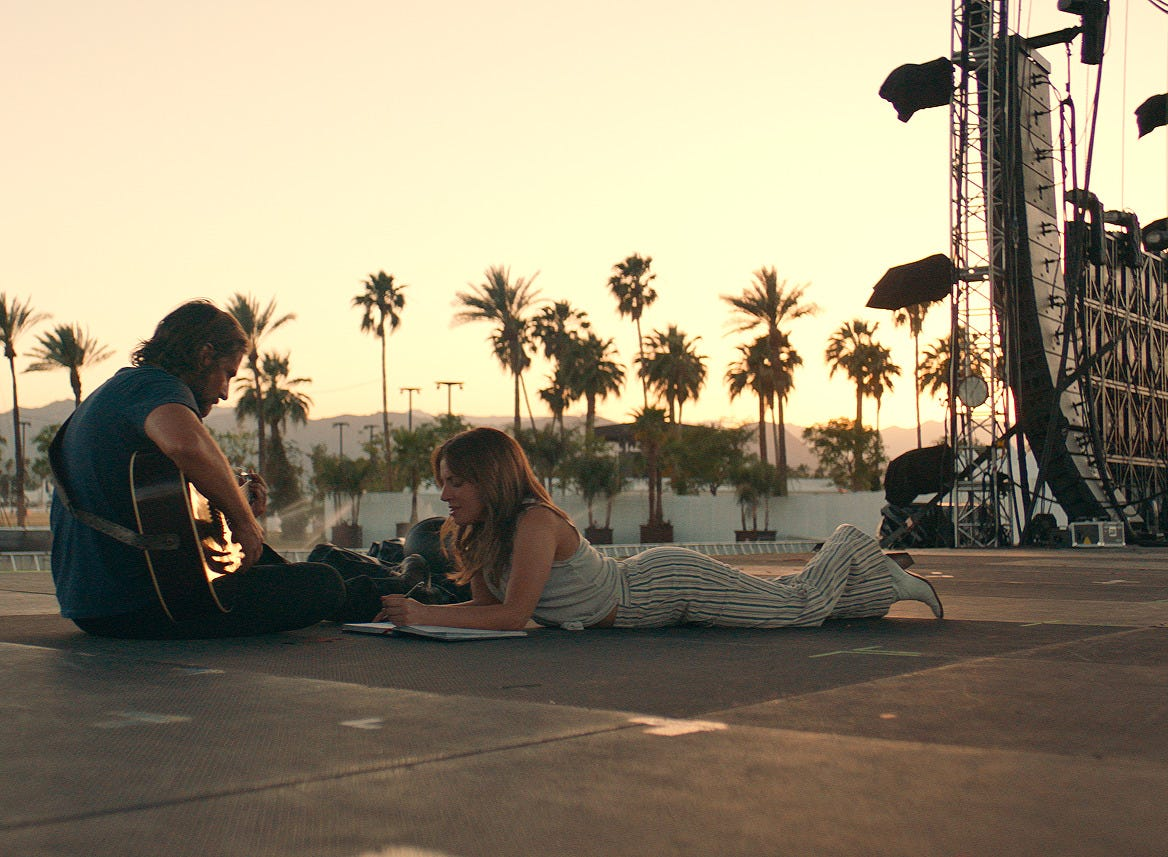 "(L-R) Actor and director Bradley Cooper as Jackson Maine and Lady Gaga as Ally in the Warner Bros. Pictures' musical ""A Star is Born,"" a Warner Bros. Pictures release (Oct. 5)."