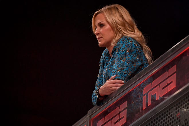 ESPN broadcaster Michelle Beadle looks on before Game 2 of the 2017 NBA Finals between the Golden State Warriors and the Cleveland Cavaliers at Oracle Arena.