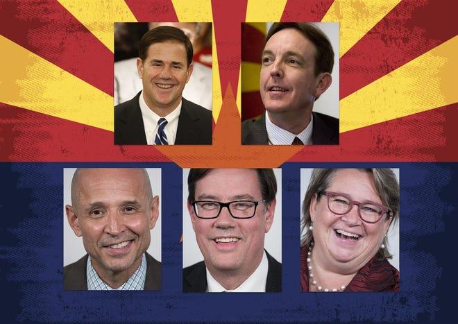 Arizona candidates for governor clockwise: Incumbent Republican Gov. Doug Ducey, Republican Ken Bennett, Democrats David Garcia, Steve Farley, Kelly Fryer.