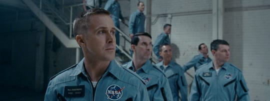 "(Left to Right) Ryan Gosling, Patrick Fugit and Shawn Eric Jones in ""First Man"" (Oct. 12)."