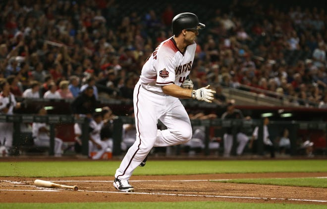 Arizona Diamondbacks Paul Goldschmidt hits a two-run home run against the Los Angeles Angels in the first inning on Aug. 22, 2018, at Chase Field in Phoenix, Ariz.