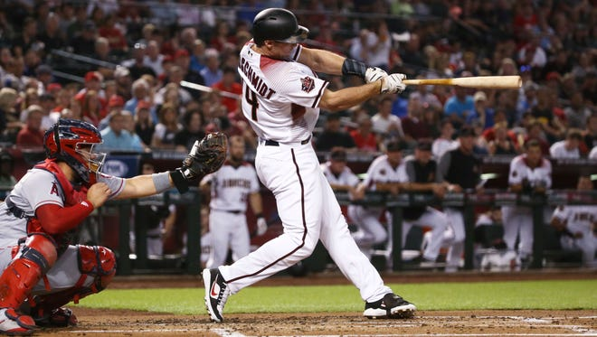The Diamondbacks' Paul Goldschmidt smacks a two-run homer Wednesday night against the Los Angeles Angels at Chase Field.