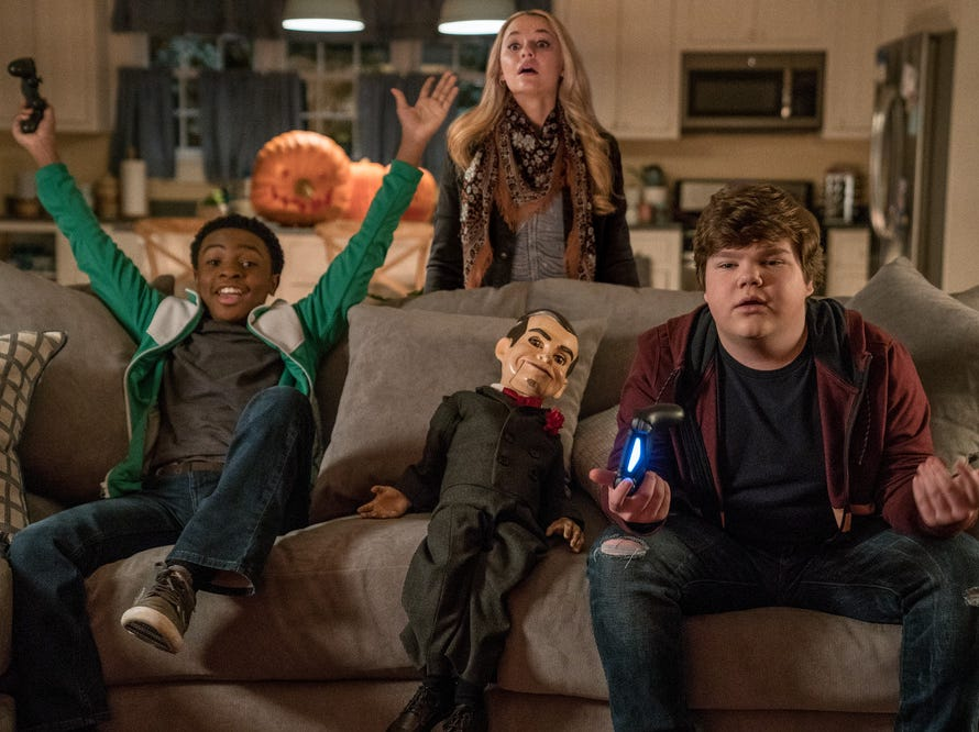 "(l to r) Caleel Harris, Madison Iseman, Slappy and Jeremy Ray Taylor in Columbia Pictures' ""Goosebumps 2: Haunted Halloween"" (Oct. 12)."