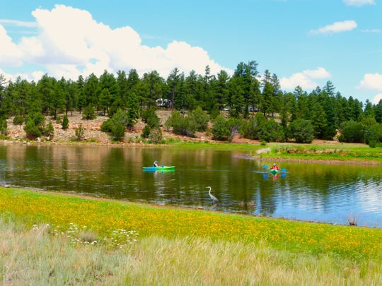 Canoes and kayaks are available for rent at Fool Hollow Lake near Show Low through Labor Day.