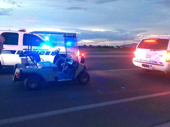Police say an 83-year-old man was confused when he drove his golf cart into oncoming traffic on the Loop 202 SanTan Freeway in Chandler, Aug. 23, 2018.