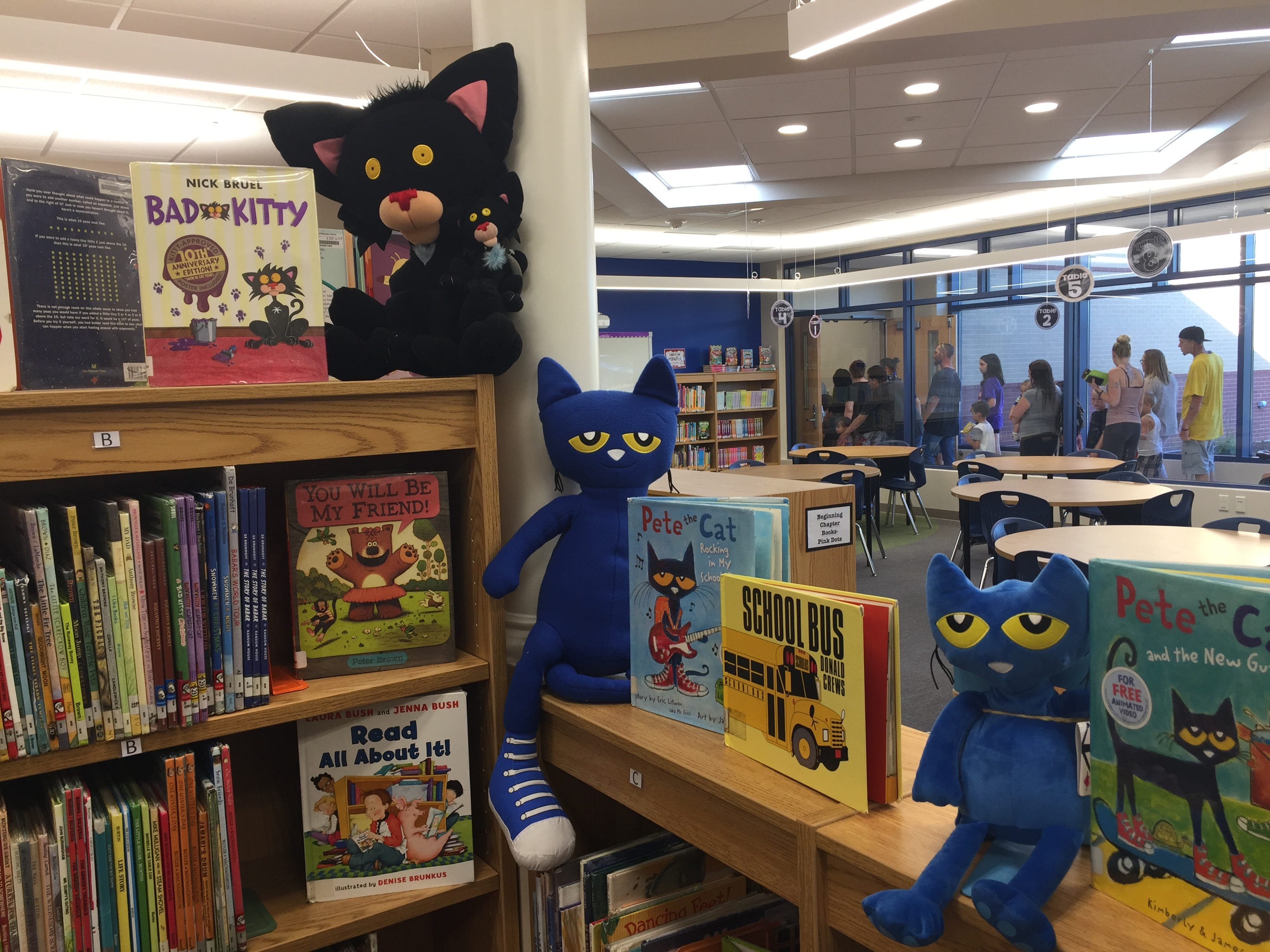 The library of the new Northwest Elementary School during an open house Aug. 23, 2018.