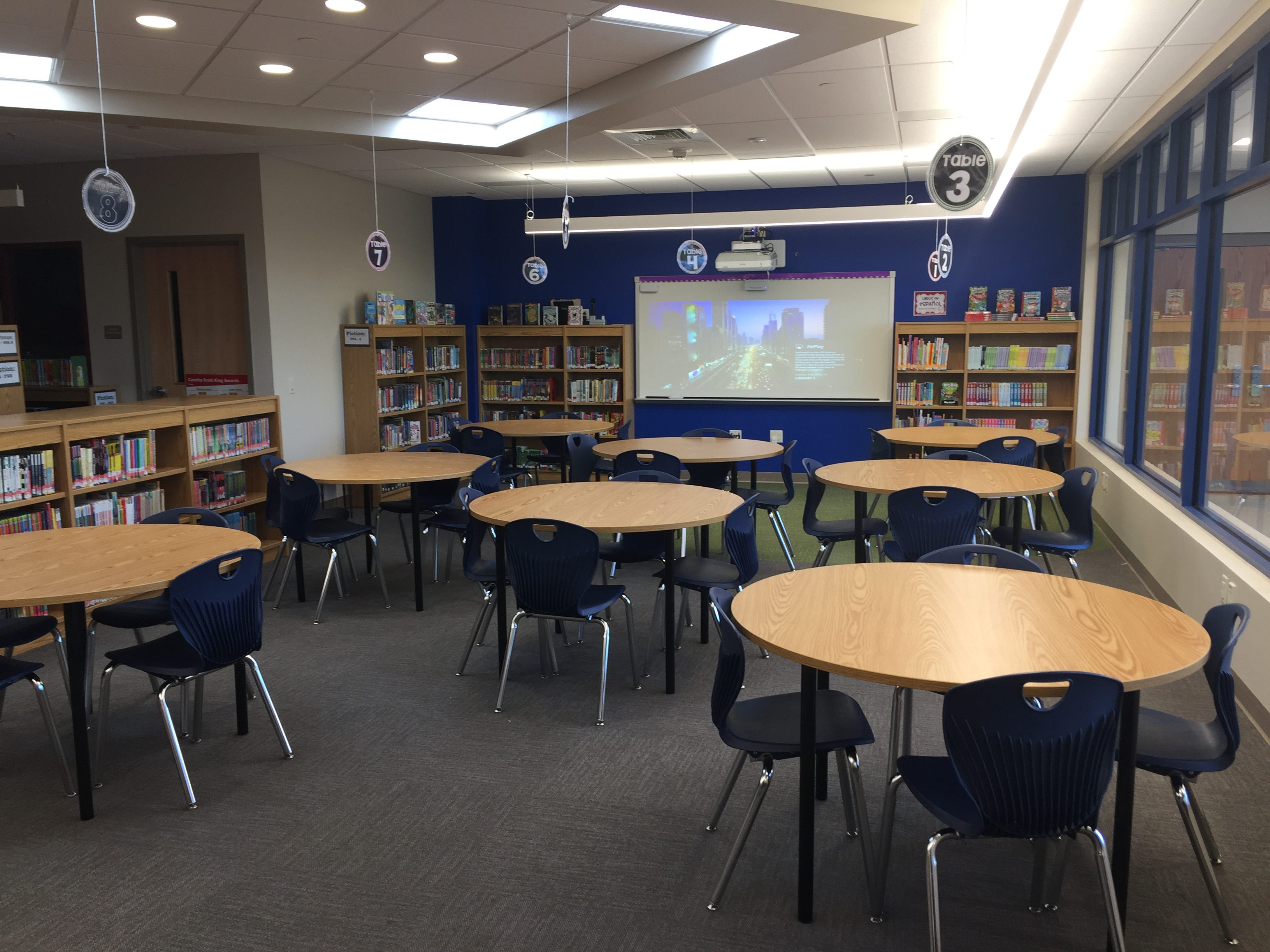 The reading area of the new Northwest Elementary School's library Aug. 23, 2018.