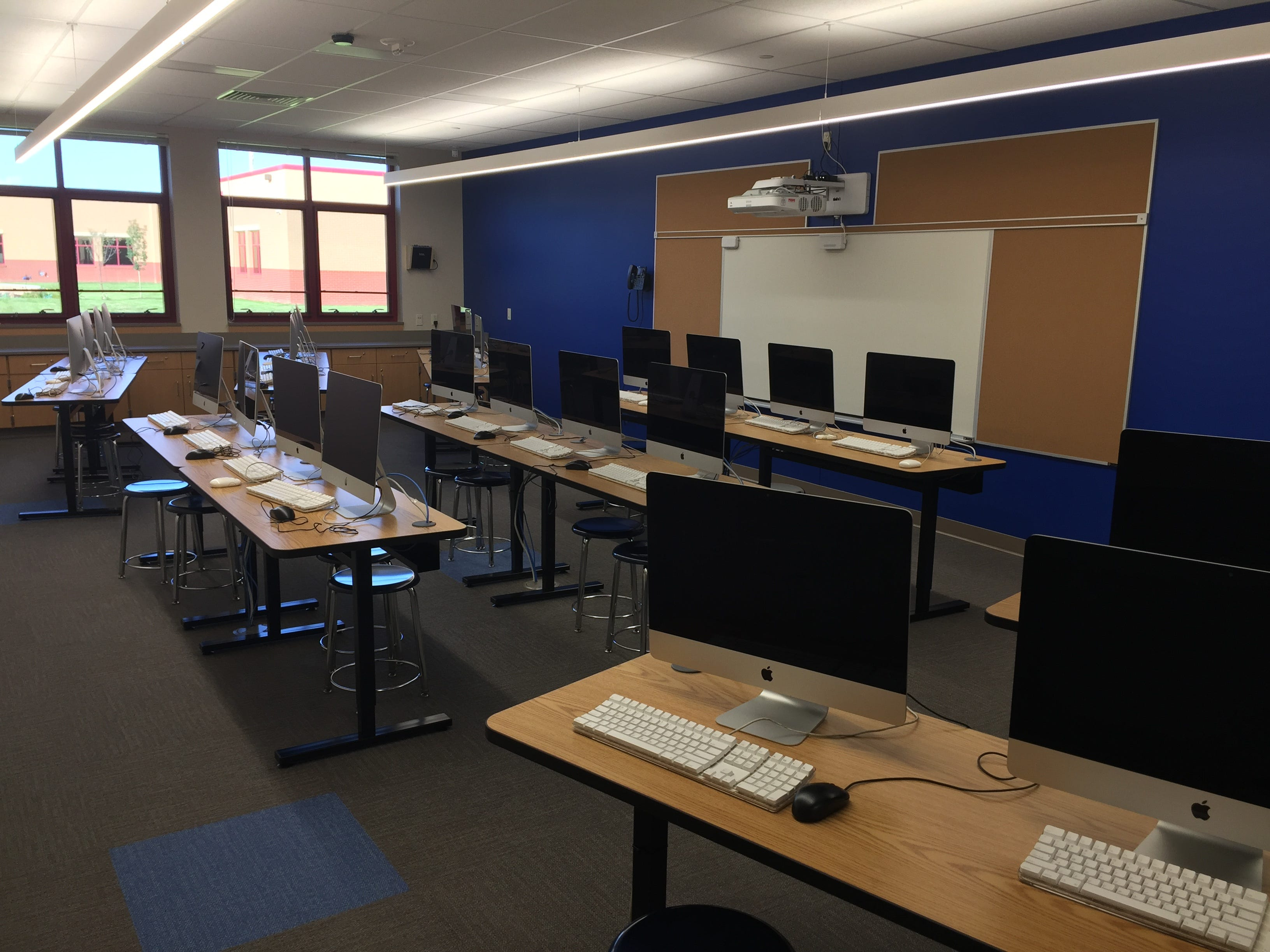 One of two computer labs in the new Northwest Elementary School Aug. 23, 2018. Each lab offers 30 computers for student use and an interactive overhead projection system for teachers.