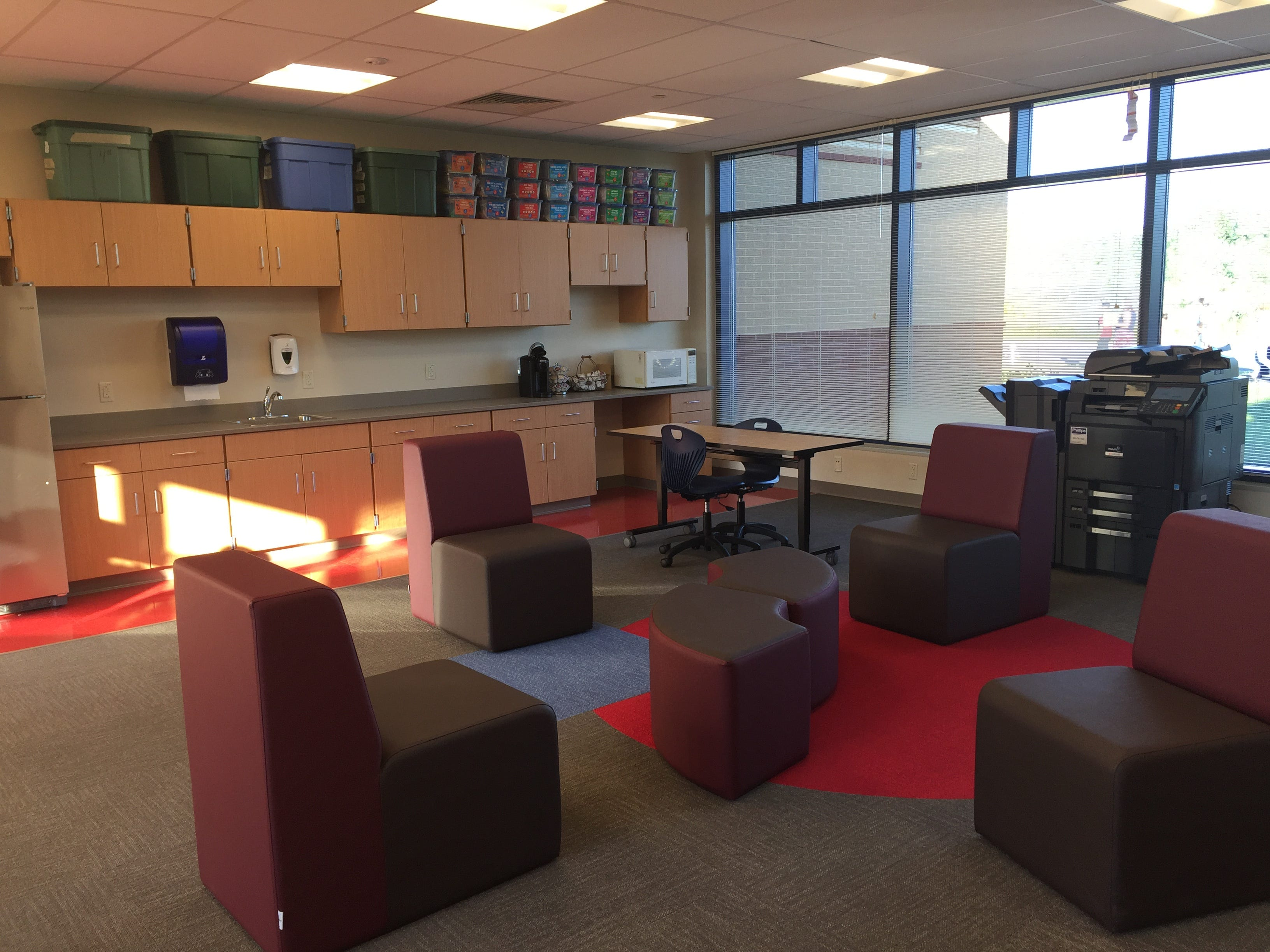One of three work areas in the new Northwest Elementary School, each situated just off of a hallway, for teachers and small groups of students for study outside of the classroom.