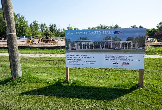 The first of five phases in construction of a new, single-story Marysville City Hall is wrapping up. The $2.1 million project is expected to be completed in about a year.