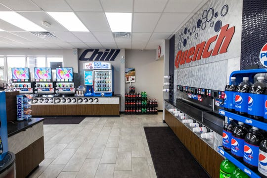 The store expanded its offerings of frozen and fountain drinks to include a F'Real smoothie and shake machine, 12 dispenser frozen drink area and a 40 head fountain machine.