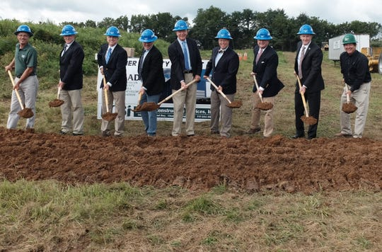 Officials break ground on Wednesday, Aug. 22, 2018, for the Jamison Door Co. production plant at Wharf Road Industrial Park near Waynesboro, Pa.